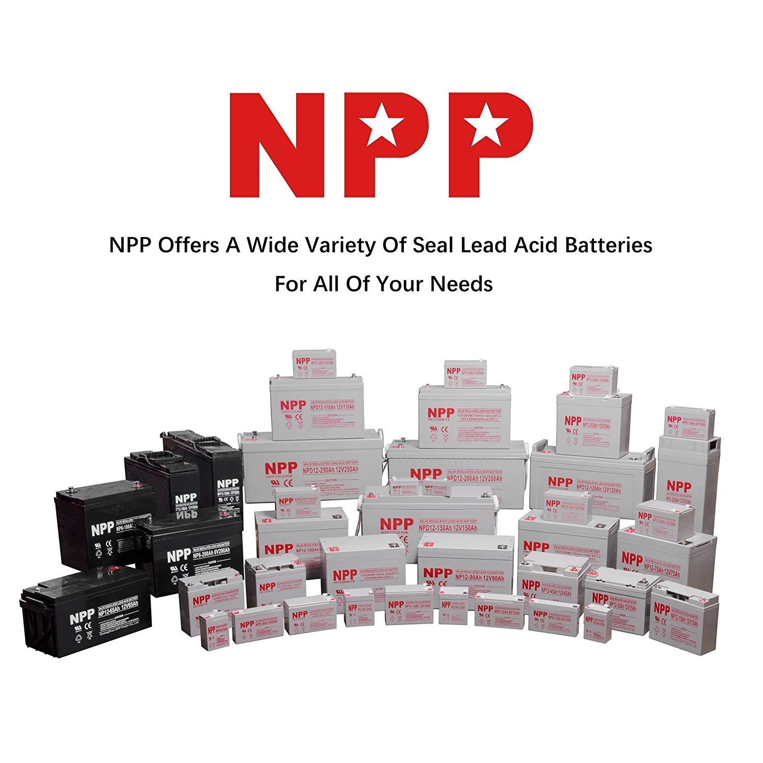 NPP NPG12-150Ah AGM Rechargeable Gel Deep Cycle 12V 150Ah Battery with Button Style Terminals (2 pcs)