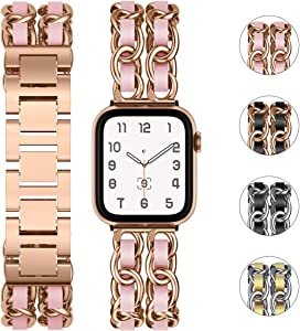 Tensea Metal Band Compatible with Apple Watch 44mm 42mm, for iWatch Series 6 SE 5 4 3 2 1 Cute Bracelet Designer Band Replacement, Cool Chain Wristband with Leather Strap Trim