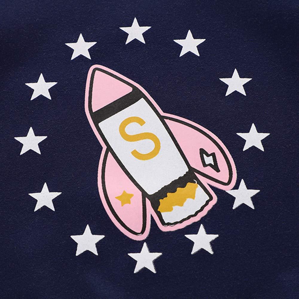 Dream/_mimi Boys/&Gils Round Neck Plus Velvet Thickening Rocket Pattern Print Casual top
