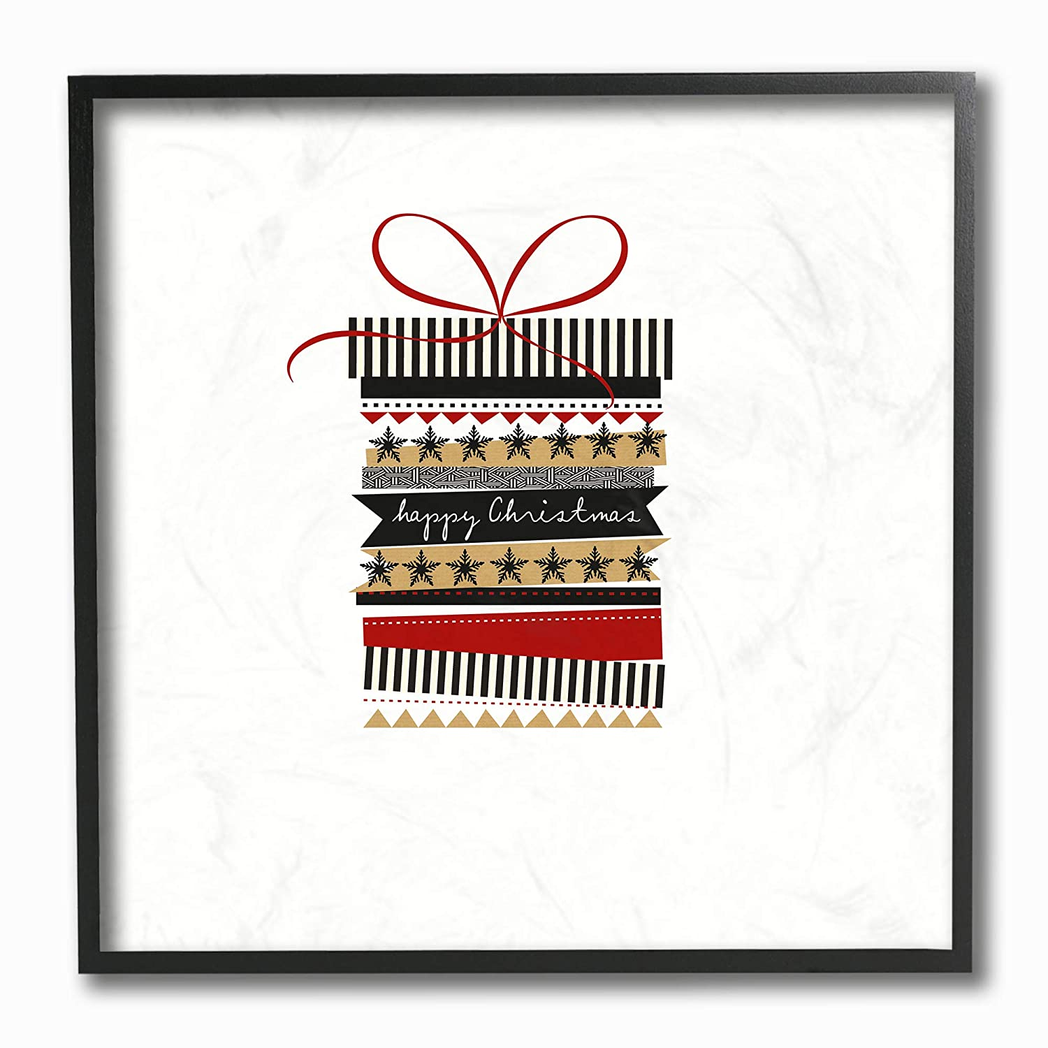 The Stupell Home D/écor Collection Holiday Minimal Happy Christmas Patterned Present Stas Stripes Black Red and Gold Framed Giclee Texturized Art Multi-Color 12 x 12