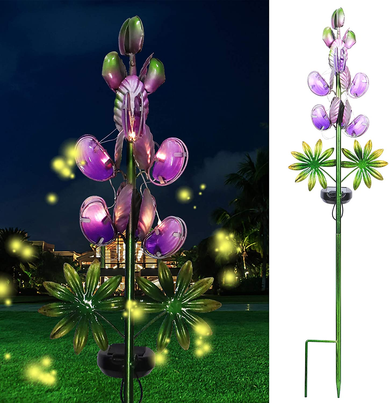 Solar Garden Decor Stake Outdoor Light Glass Flower Stake for Yard Lawn Decor Backyard Decorations (Purple Lupin)