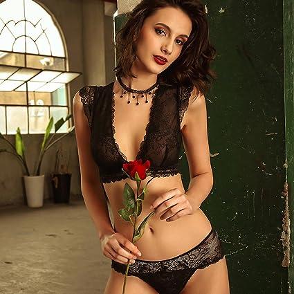 Ropa interior lencería sexy conjunto de sujetador de mujer sin bordes cuello halter encaje escote en