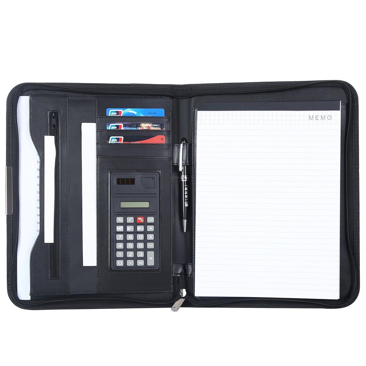 Leathario Portfolio A4 File Folder Padfolio Writing Pad Business Presentation Folder PU Black