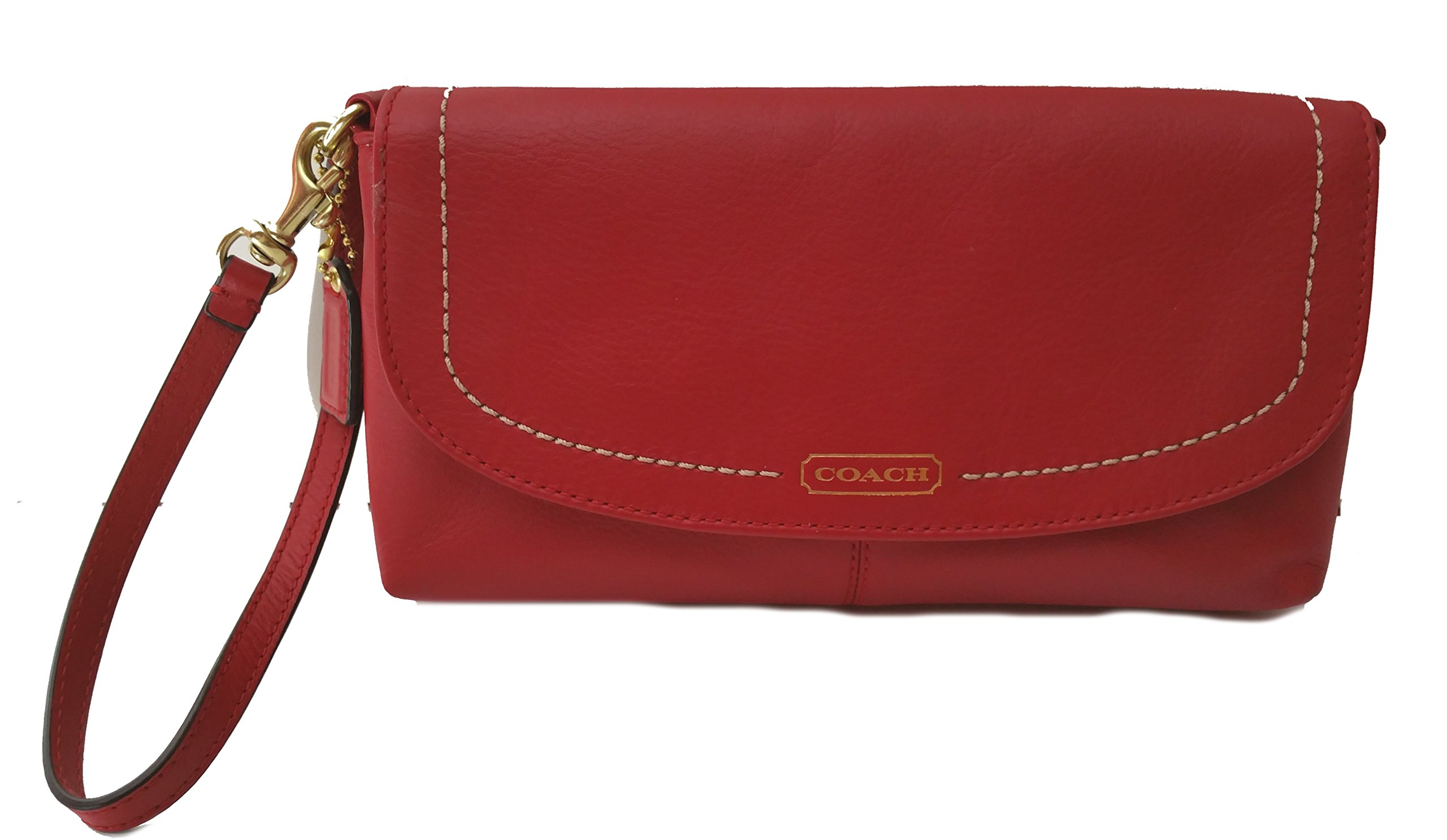 Coach Campbell Soft Leather Large Clutch Wristlet Wallet Red 50183