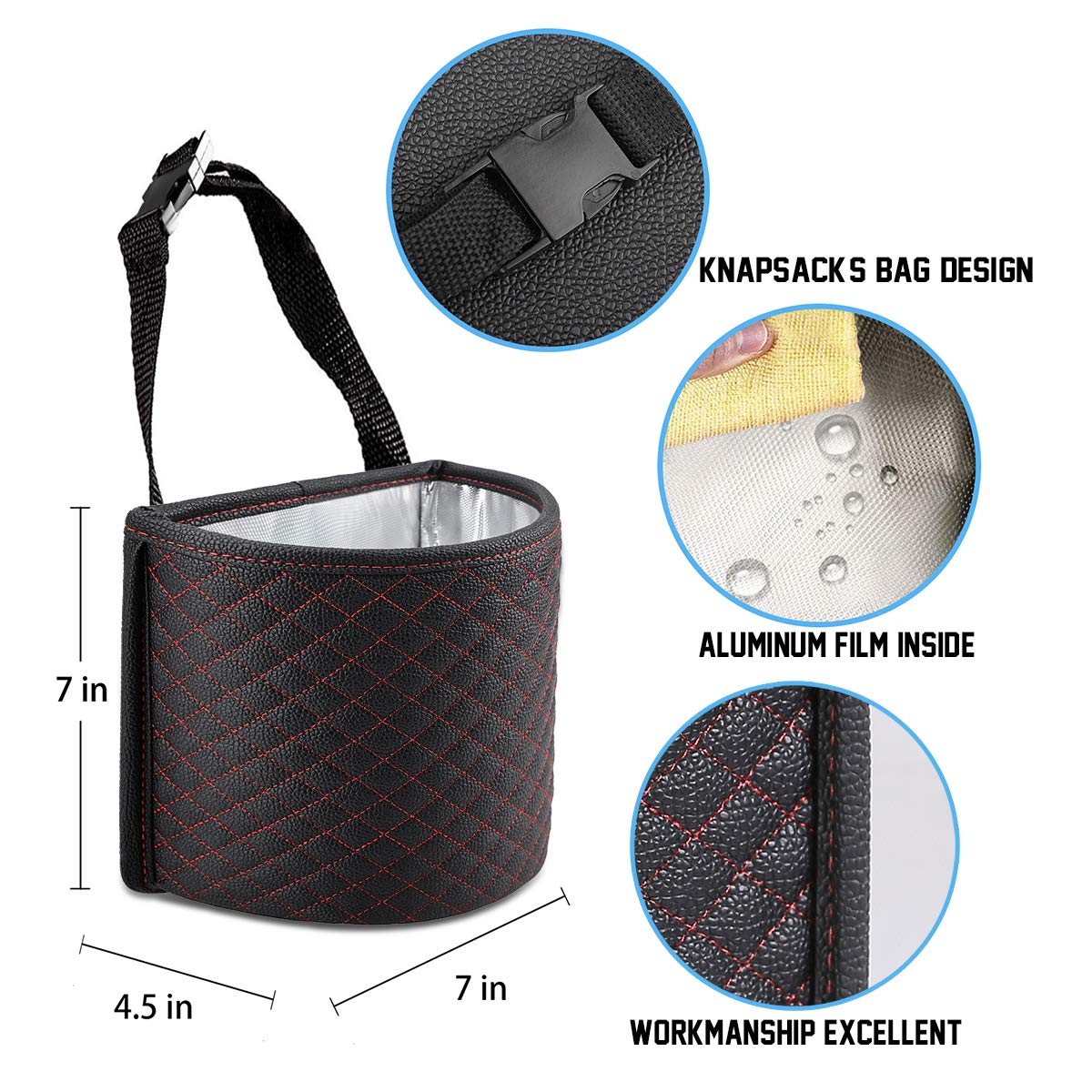 KNGUVTH Car Garbage Cans Hanging Vehicle Trash Bags Bins Drive Portable Auto Garbage Bags Litter Organizers Trash Pail with Adjust Headrest Holder Waterproof Mini Container Car Accessories 2 Pack