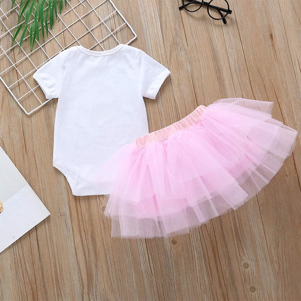 Dinlong Infant Baby Short Sleeve Cartoon Ballet Printed Romper+Solid Color Mesh Tutu Skirts 2Pcs Outfits Sets