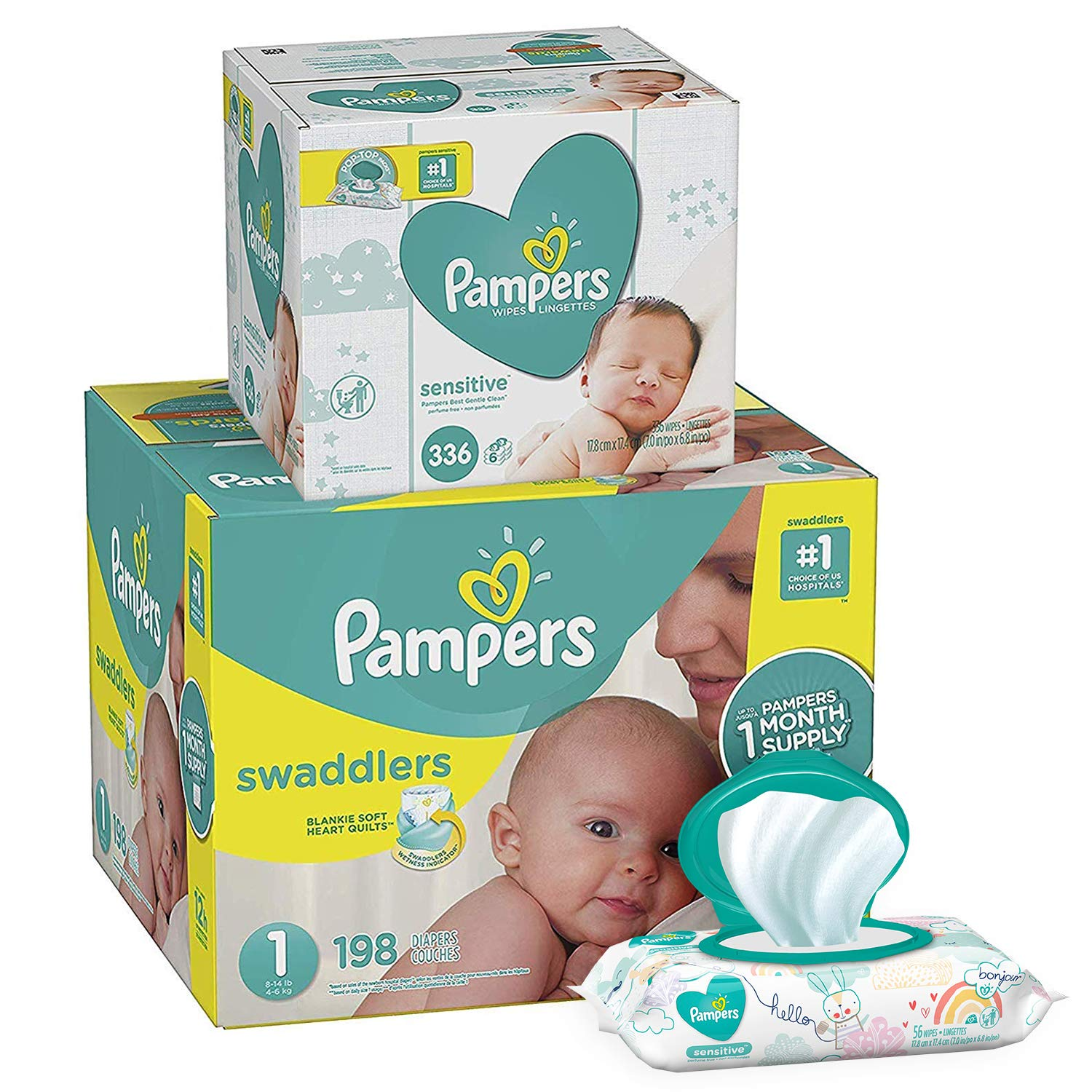 Pampers Swaddlers Disposable Baby Diapers Size 1, 198 Count and Baby Wipes Sensitive  Pop-Top Packs, 336 Count