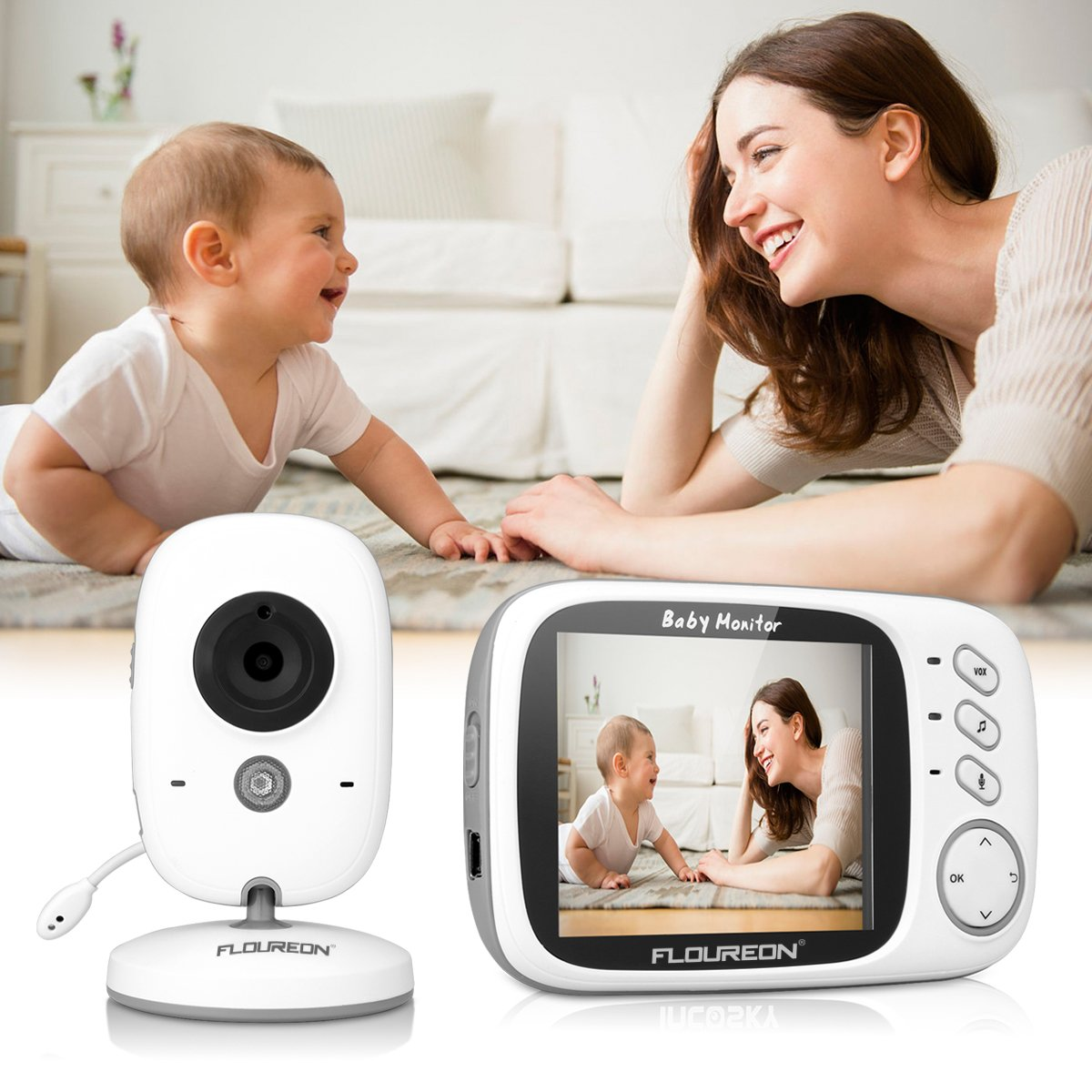 FLOUREON Vigilabeb/é inal/ámbrico con c/ámara digital color blanco LCD de 3.2, 2.4 GHz, visi/ón nocturna por infrarrojos, di/álogo bidireccional