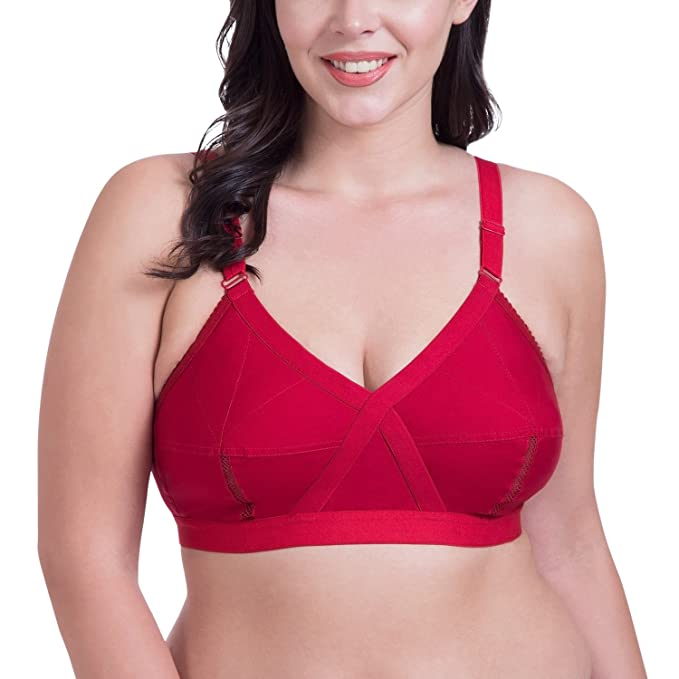 d5351a3a5 Rajnie Cross Fit Plus Size Non Padded Red Cotton Bra  Amazon.in  Clothing    Accessories