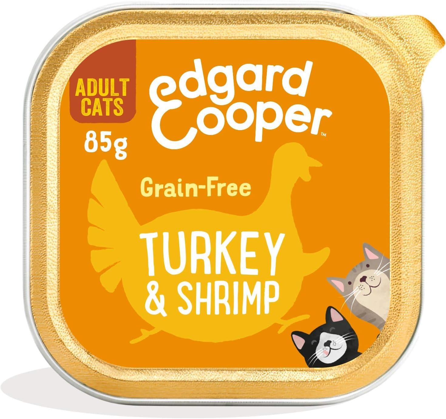 Edgard & Cooper Comida humeda Gatos Adultos sin Cereales, Natural con Pavo Fresco y Gambas. Comida Sana Rica en nutrientes y antioxidantes Naturales Pack tarrinas de 19x85gr