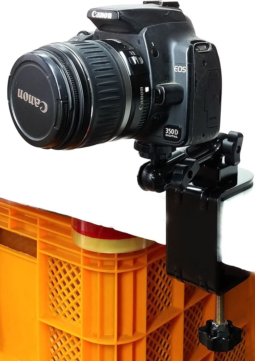 Steel Clamp Mount to be Fixed on Desk or Rectangular Panel with one Joint bar and a Ball Head Compression Parts for Standard Camera and Go Pro Camera Camera Mount and Go Pro Camera Mount
