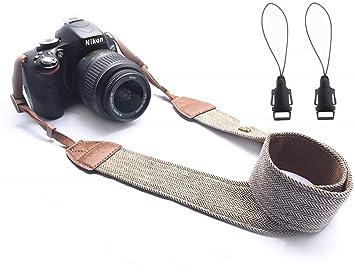 Wanby - Correa de Piel para cámara réflex Digital Canon Nikon Sony ...