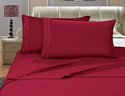 Elegance Linen ® Wrinkle Resistant   1200 Thread Count Luxurious Silky Soft  4 Pc Sheet Set