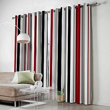 Amazon.com: HomeCreator Window Blackout Curtains Red White ...