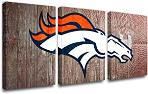 American Football Picture Denver Broncos Logo Painting for Living Room 3 Panels Canvas Wall Art Modern Home Decor HD Prints Football Artwork Wooden Framed Stretched Ready to Hang Gift(42''W x 20''H)
