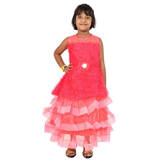 e5801e71a Little Generation Kids Party Wear Frock with Beautiful Flower and Stone  Work for Girls (Peach Pink Pack of 1): Amazon.in: Clothing & Accessories