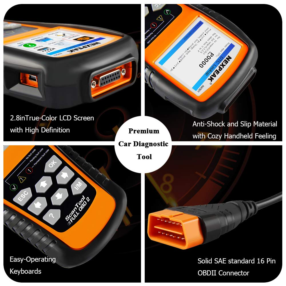 NEXPEAK OBD2 Scanner, NX501 Enhanced OBD II Code Reader Car Diagnostic Tool Auto Check Engine Light Diagnostic Scanner for OBD2 Protocols Cars since 1996
