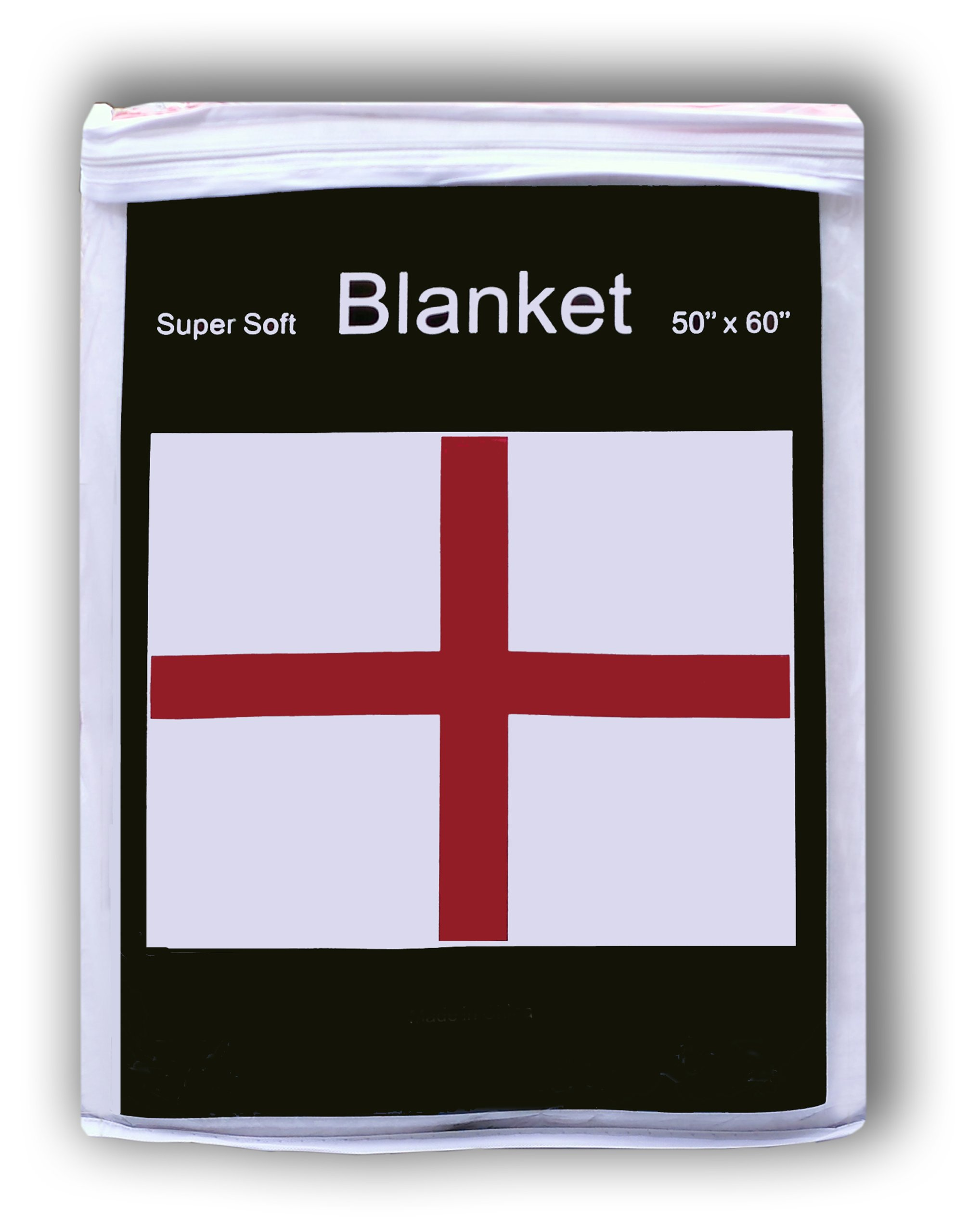 English St. George's Cross Fleece Blanket 5 ft x 4.2 ft. Throw Cover Flag of England Great Britain UK Union Jack British