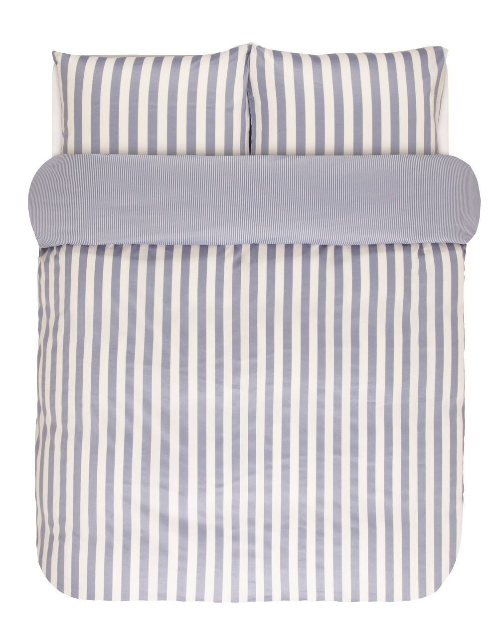 Marc O`Polo Mako Satin Bettwäsche Classic Stripes 730001-100DE-182-000-135x200-80x80 Pastel Blau
