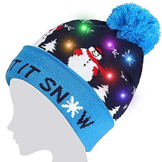 LED Light Up Hat Beanie Knit Cap, LED Xmas Christmas Hat Beanie, Winter Snow - LED Light Up Hat Beanie Knit Cap, LED Xmas Christmas Hat Beanie