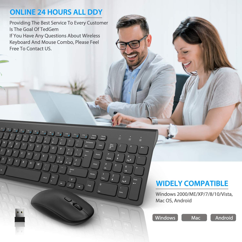 Mac TedGem Clavier et Souris sans Fil avec 2 en 1 USB Nano pour PC Windows Ultra Fin, Silencieux et Disposition Italienne 2,4 G USB