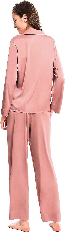 Femofit Satin Pajama Set for Women Long Sleeve Button Down Sleepwear Nightwear Soft PJs S~XL
