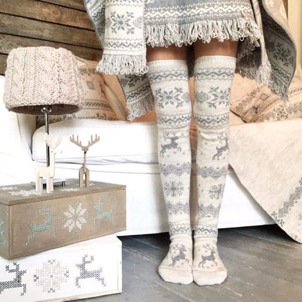 SHOBDW Mujeres Regalo de Navidad Lindo Reno Copo de nieve Muslo Alto Medias largas Tejer sobre calcetines hasta la rodilla Invierno de invierno Gruesa ...