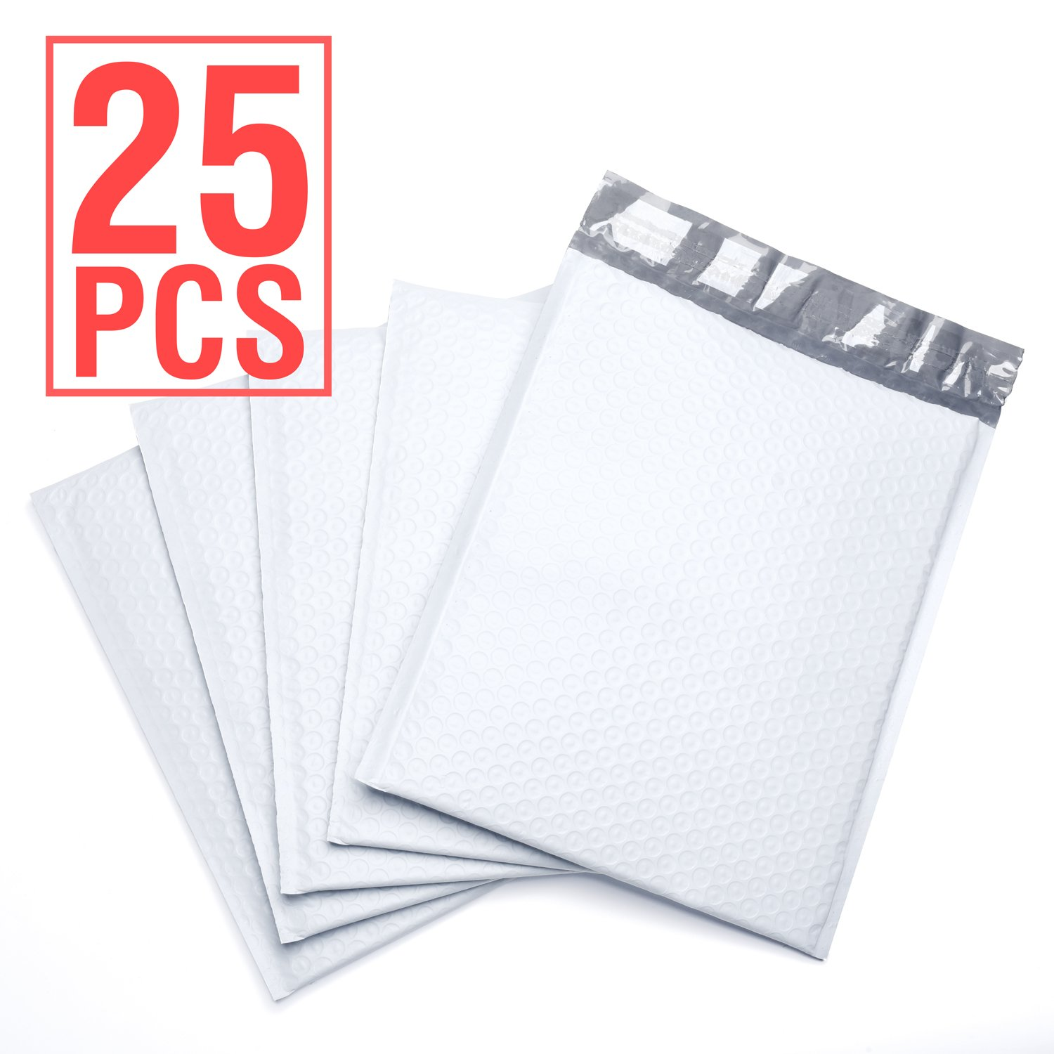 FU GLOBAL Padded Envelopes #2 Poly Bubble Mailers 8.5x12 Inch Bubble Envelopes White 25pcs