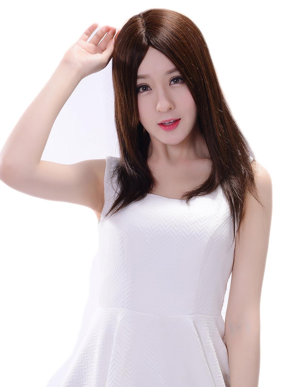 HIYE 医療用ウィッグ女性用 人毛ウィッグ ストレートロング 栗色 未カット 肌色 人工皮膚 女性 医療用ウィッグ 35cm 人毛100% 手植え 機械植え B01D16AOY6