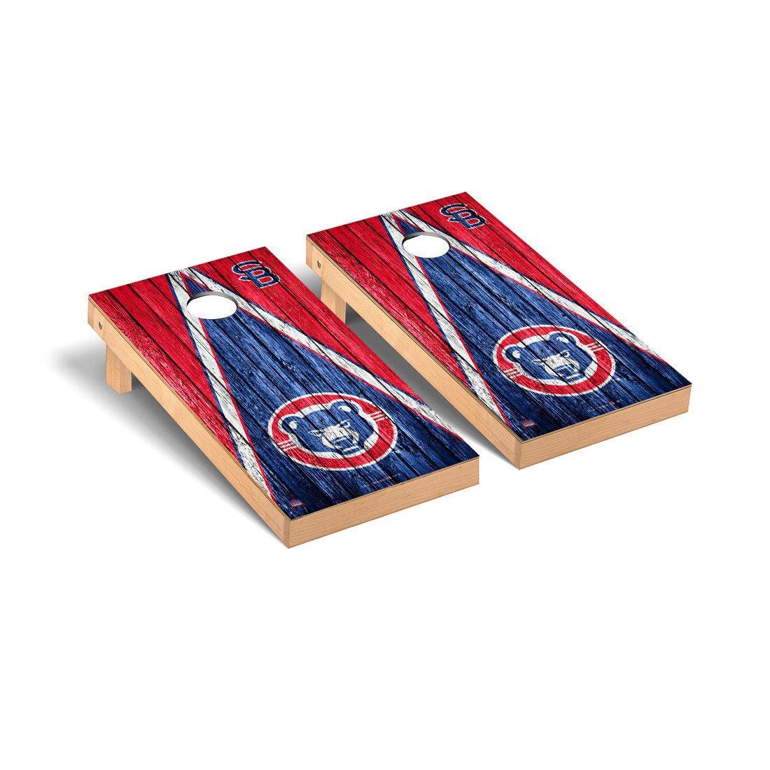 South Bend Cubs MiLB Regulation Cornhole Game Set Weathered Triangle Version
