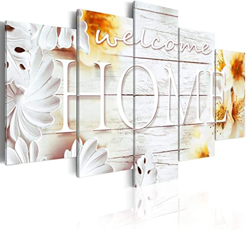Huge Size 5 Panels Wall Art Welcome Home Sign Decor Golden Brown Modern Abstract Picture Canvas Flower Decoration Housewarming Living Room Print 80″ x 40″