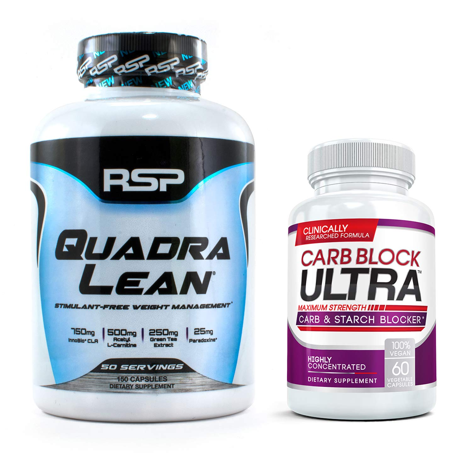 RSP QUADRALEAN 2.0 & 2X CARB Block Ultra Bundle: Professional Strength, Fat-Burning Powerhouse. Block Carbohydrates, Boost Metabolism & Energy, Inhibit Fat Production with The Best Weight Loss Pills by VHN