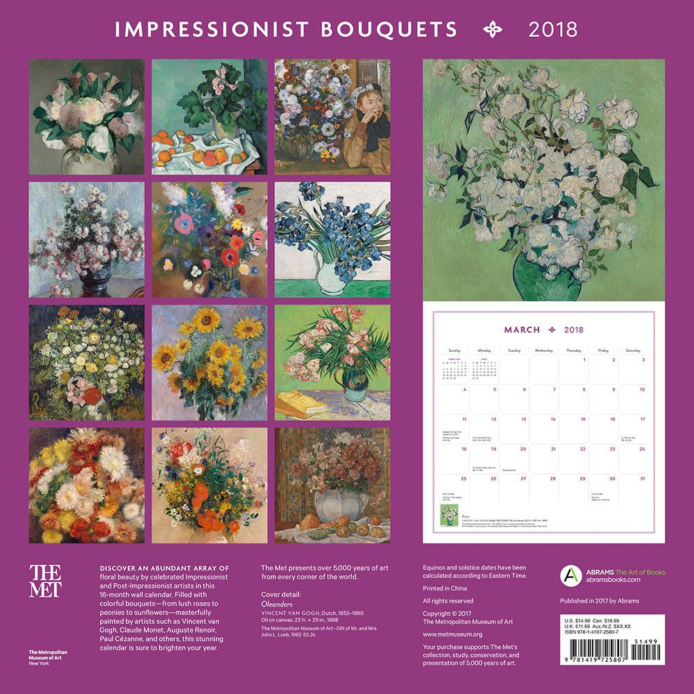 impressionist bouquets 2018 wall calendar the metropolitan museum of art 9781419725807 amazoncom books