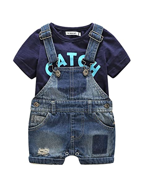 Amazon.com: aidio Baby Boy ropa Set camisas Denim overol ...