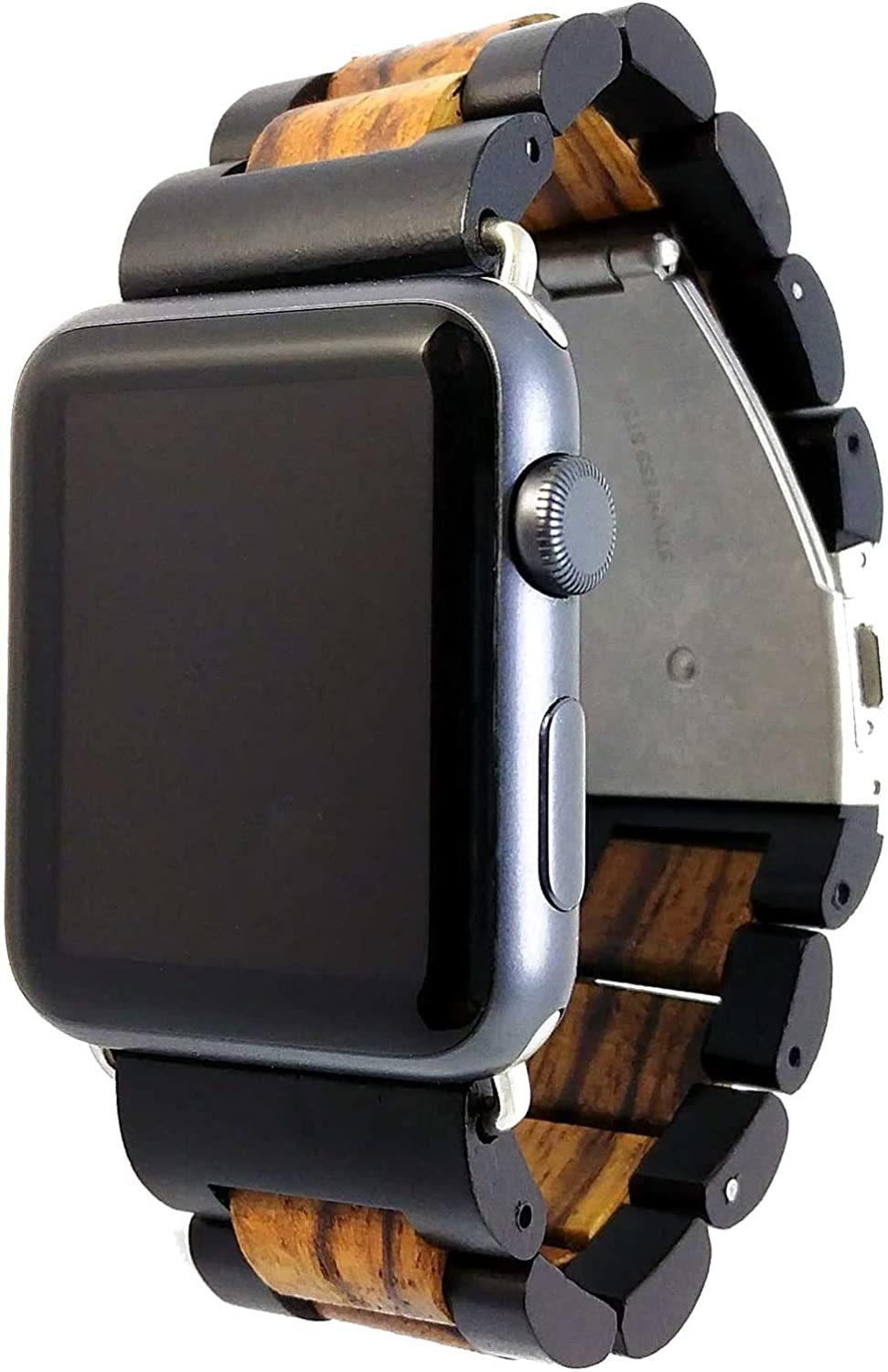 Apple Watch Band - Ottm 42mm Unique Wooden Watch Band for Apple iWatch with extra links and tool for resizing (Zebra/Sandalwood)