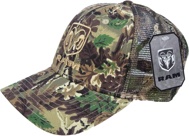 DODGE RAM LOGO PATCH BLACK MOSSY OAK CAMO HAT CAP ADJUSTABLE CAMOUFLAGE OUTDOOR
