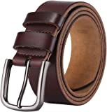 Men's 100% Italian Cow Leather Belt, Autolock Full Grain Leather Jean Belt for Men, 5-Year Warranty