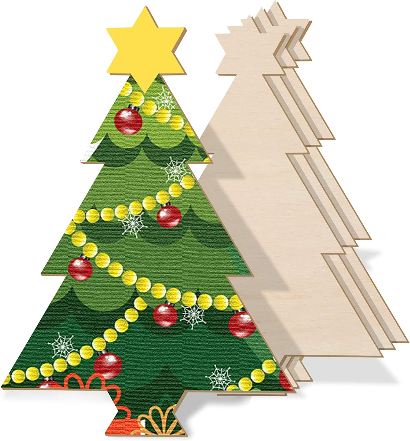 4 Pieces 15 x 10 Inch Christmas Wooden Ornaments Unfinished Set Tree Wood Craft Cutout Blank Christmas Tree Shape Cutout for Christmas Party DIY Decoration