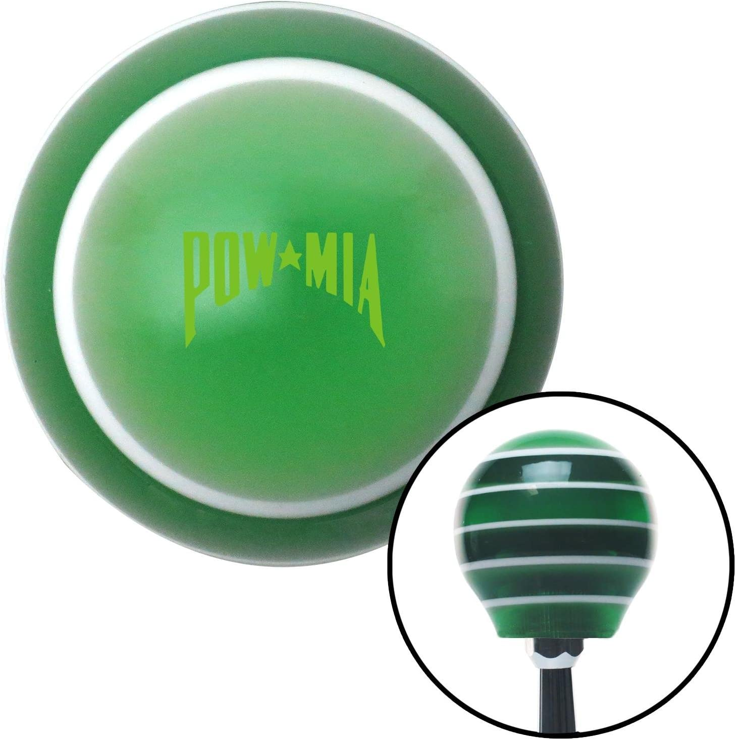 Yellow Pow Mia Text Green Stripe with M16 x 1.5 Insert American Shifter 275473 Shift Knob