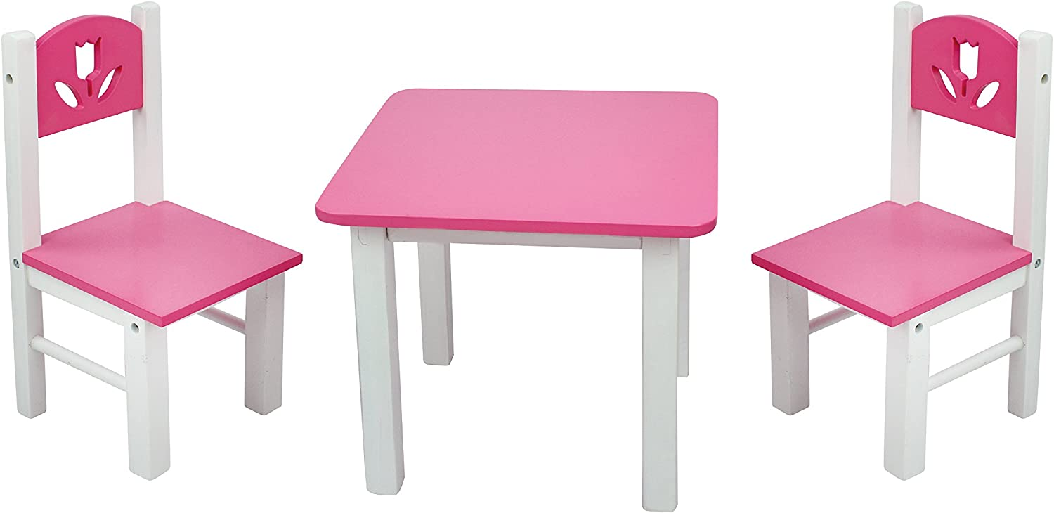 13 Inch Doll Furniture Pink/White Wooden Table and Chairs Set- Fits  American Girl Dolls
