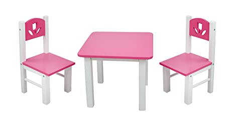 Amazon Com 18 Inch Doll Furniture Pink White Wooden Table And