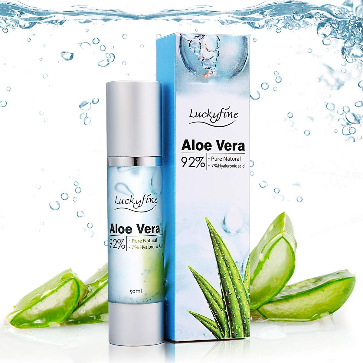 Luckyfine Aloe Vera Essence for Face, Natural 92% Aloe Vera & 7% Hyaluronic Acid, Soothing & Moisture for Acne, Sunburn, Itchy, Dry Skin, Facial Moisturizing, Face Whitening Y.F.M