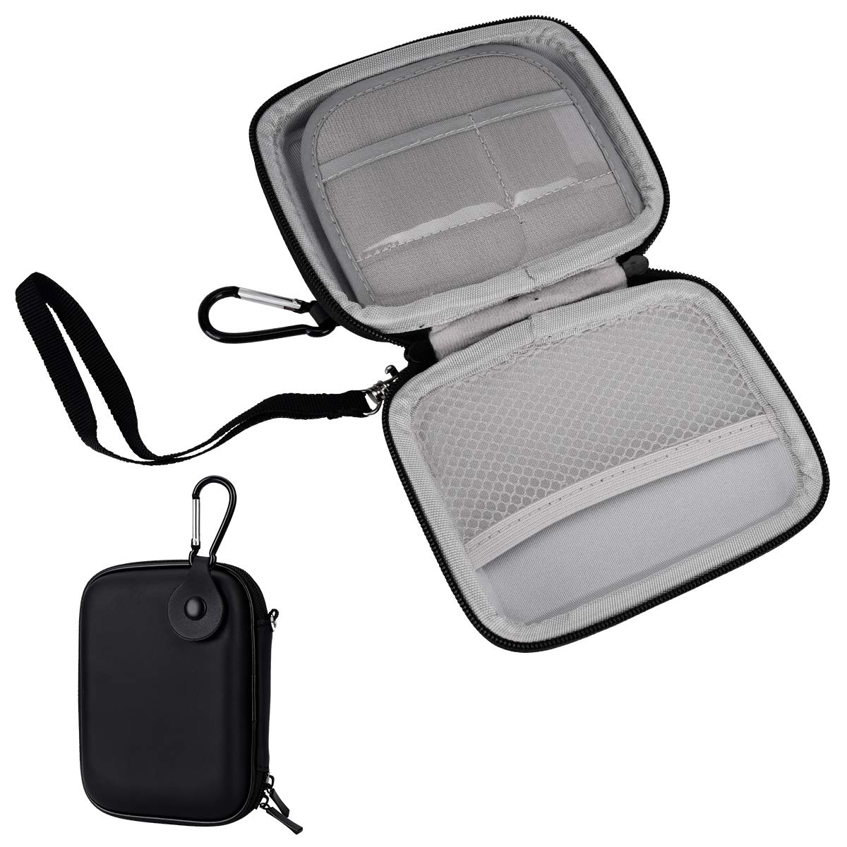 YoungRich Portable Mini Hard EVA Carrying Case Small Travel Storage Bag with Carabiner Strap Two Zippers Waterproof Holder for Power Bank Bluetooth Earphone Wired Headset Data Wire Black 14x11x3cm