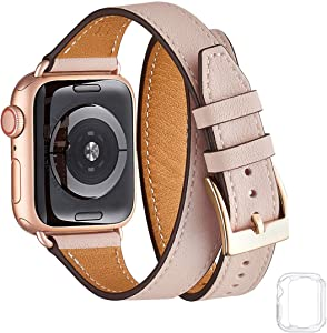 Bestig Band Compatible for Apple Watch 38mm 40mm 42mm 44mm, Genuine Leather Double Tour Designed Slim Replacement iwatch Strap for iWatch Series 5/4/3/2/1 (Pink Sand Band+Rose Gold Adapter, 38mm 40mm)