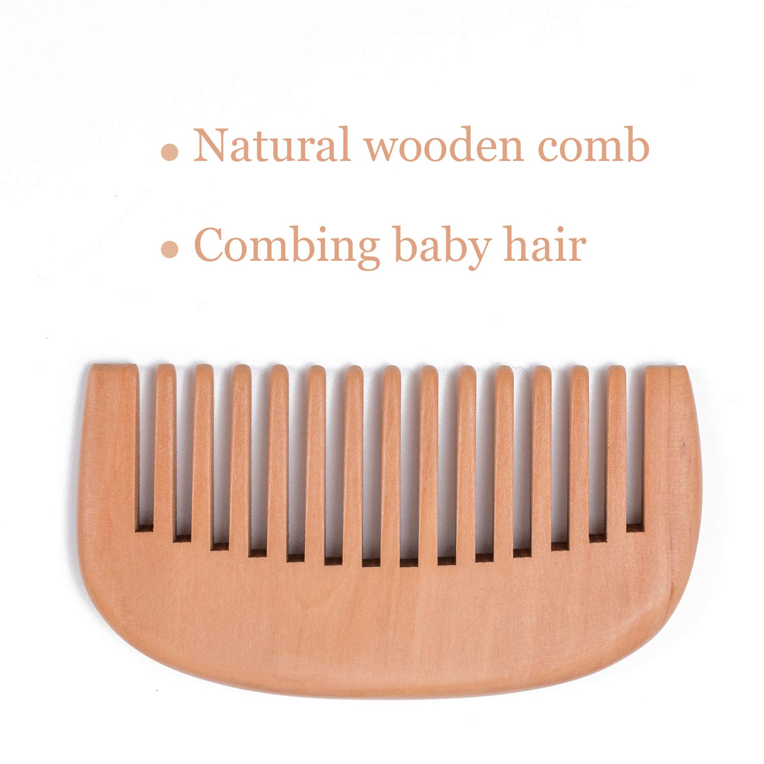 MJF 3-Piece Wooden Baby Hair Brush and Comb Set-The Best Gift for Newborns and Toddlers to Comb Their Hair-Natural Soft Goat Bristles and Eco-Friendly Safe Brush-Helps to Prevent or Cradle Cap