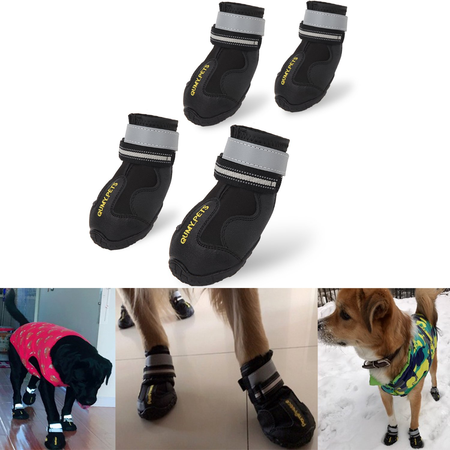 QUMY Dog Boots Waterproof Shoes for Large Dogs with Reflective Velcro Rugged Anti-Slip Sole Black 4PCS (Size 6: 2.9x2.5 Inch)