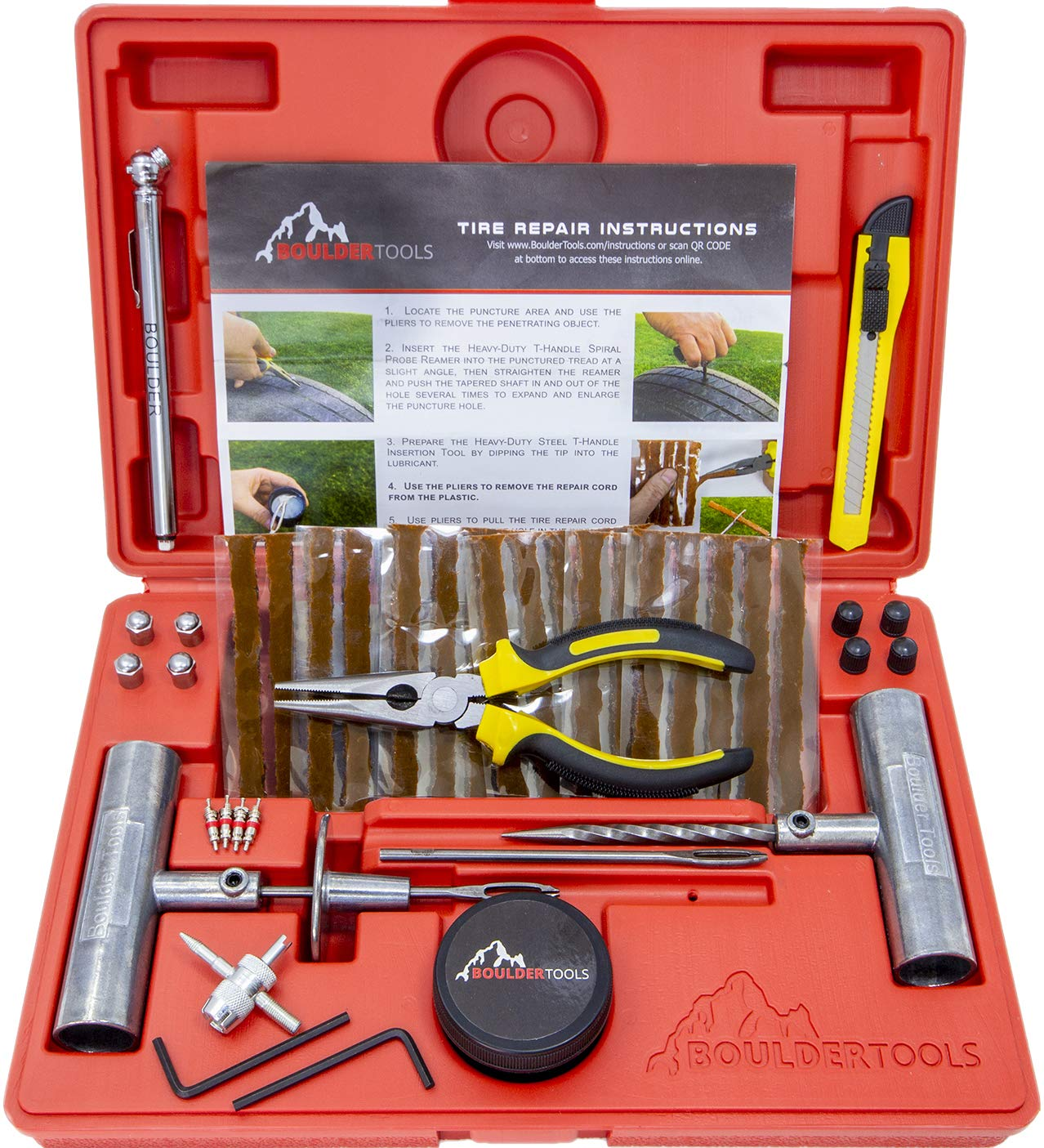 Boulder Tools - Heavy Duty Tire Repair Kit for Car, Truck, RV, SUV, ATV, Motorcycle, Tractor, Trailer. Flat Tire Puncture Repair Kit