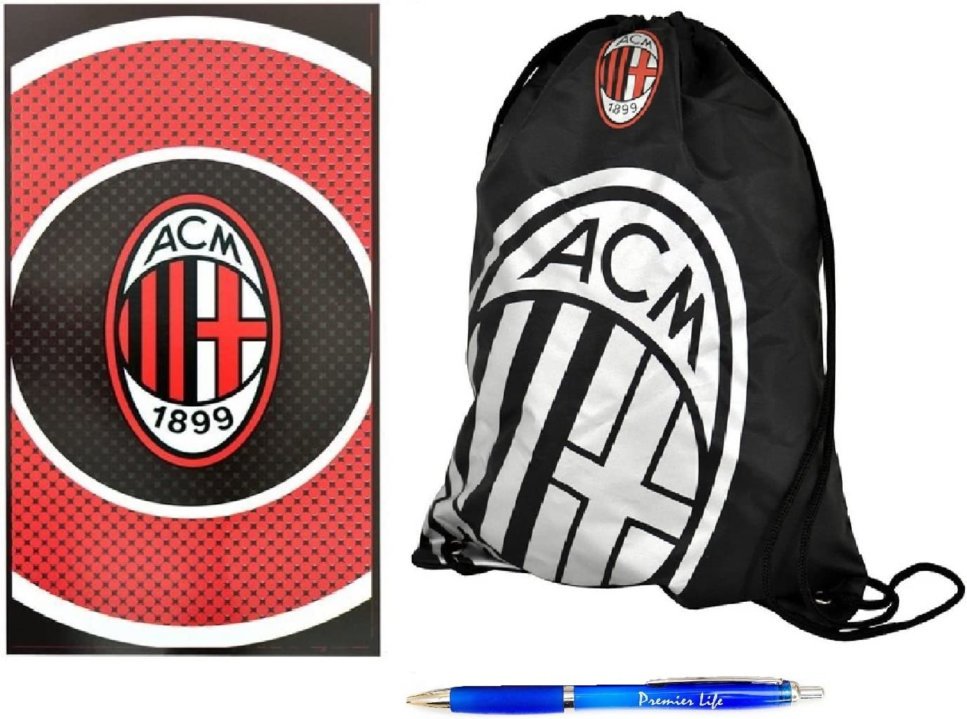 Amazon Com Premier Life Store Back To School With Ac Milan Fc Gym Bag And Towel Sports Outdoors