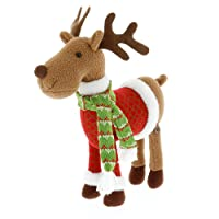 """SCS Direct Reindeer Plush 12"""" Christmas Pet Stuffed Doll - Great with Your Holiday Elf"""