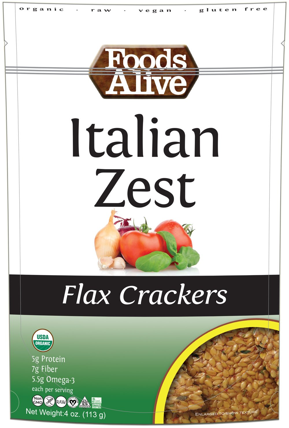 Foods Alive - Organic Flax Crackers Italian Zest - 4 oz